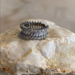 Jewelry - 2/$20 Sterling Silver CZ 3 Carat Baguette Ring
